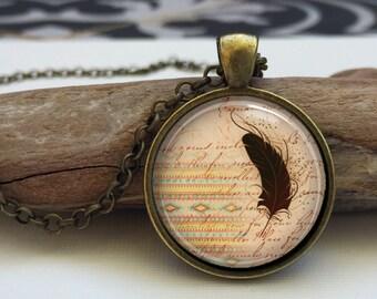 Tribal Boho Necklace art pendant . Geometric Tribal pattern necklace. Tribal Feather Necklace (tribal#2)