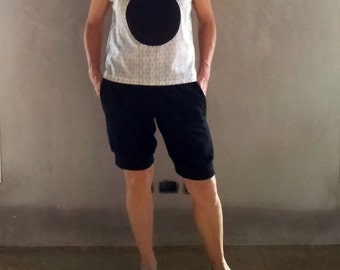 Black Organic Cotton Knit Knee Length Shorts