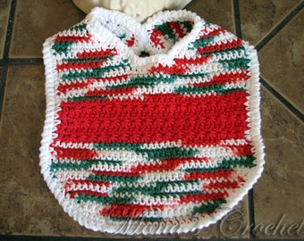 Hand Crocheted Christmas Red Star Stitch Band Baby Bib | Baby Bib | Crochet Baby Bib | Crocheted Bib | Baby Shower Gift