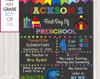 FIRST DAY of SCHOOL - Customized Chalkboard Sign / 1st Day of School Customized for You / 8x10 or other size / 300 dpi / Instant Download