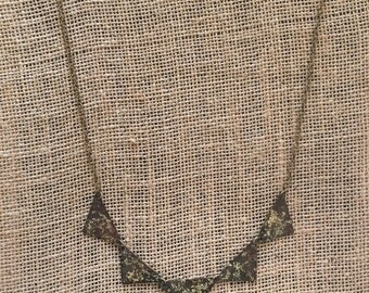 Brass Rustic Patina Triangle Pendant Necklace