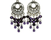 Purple Chandelier Earrings with Round Charms