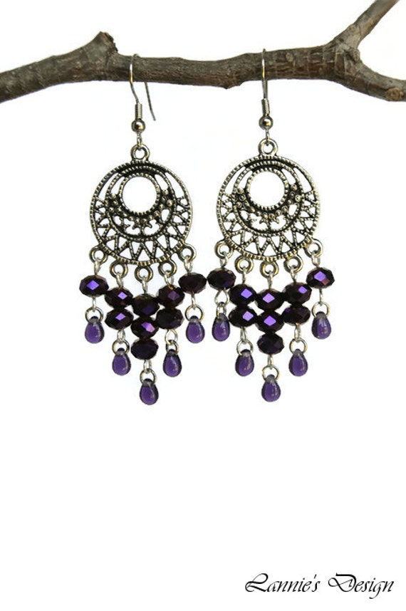 Purple Chandelier Earrings With Round Charms Hooks Posts Clip Ons