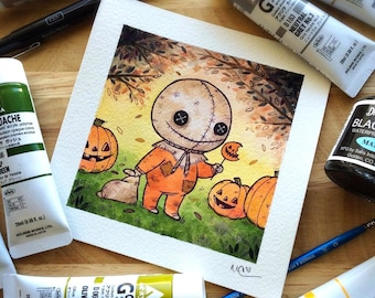 Sam Trick R Treat Watercolor PRINT by Michelle Coffee