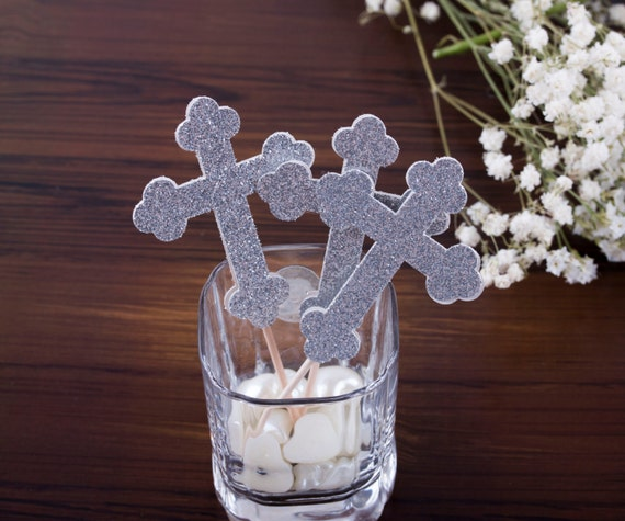 Cross Cupcake Toppers, Silver Cross or Gold Cross Cupcake Toppers. Baptism Party Decorations 12CT
