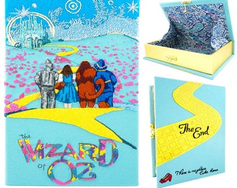 The Wizard of Oz book clutch purse. Women's personalized handmade handbag with silk embroidery and felt. Book wallet. Leather clutch book.