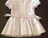 1950s Baby Clothes, Vintage Pink Smocked Cotton Dress, Baby Girls'Embroidered Dress with Lace, Full Skirt