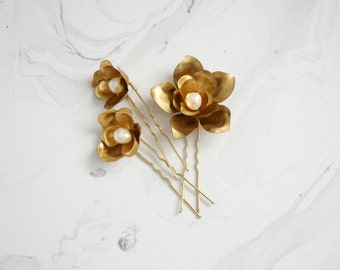 Gold bridal hair pins set, Floral bridal U pins, Wedding hair pins, Bridal hair accessory, Gold wedding, Wedding hair, Bridal hair, Bride
