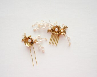 Gold Bridal Hair, Freshwater Pearls Bridal Hair Accessories, Wedding Hair, Bridal Hair Jewelry, Gold Wedding, Wedding Hair, Bridal Hair