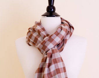 Brown Checkered Reversible Cashmere scarf/stole