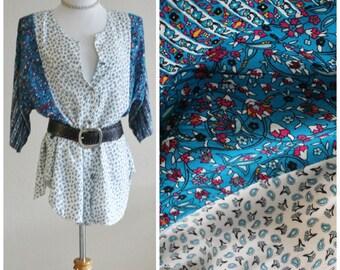 Vintage 70's 80's Blue White Paisley California Hippie Boho Paisley India Ethnic Tunic Blouse Top Shirt Kimono Sleeve