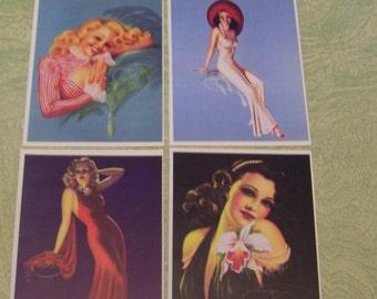 Eight glossy book plate pages Gil Elvgren Billy DeVorss pinup girl girlie calendar art
