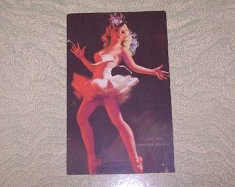 Vintage pinup girl girlie Mutoscope card I Get the Darndest Breaks chorus girl ballerina risque