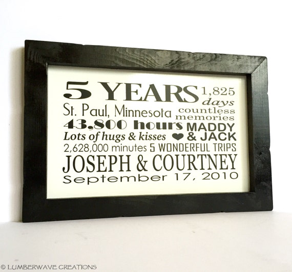 Five Year Wedding Anniversary Gift For Husband: 5 Year Anniversary Gift Wedding Anniversary By