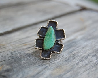 "Size 6.5 - Cerrillos Green Turquoise Sterling Silver Women's ""Dragonfly"" Ring // Green Turquoise // Turquoise Ring // Navajo Style"