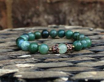 Earthy Bracelet Nature Jewelry Healing Bracelet Yoga Bracelet Wrist Mala Moss Agate Prehnite