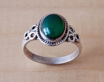 Green Onyx Ring Sterling Silver Handmade Size 8.25