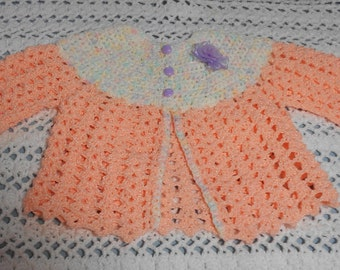 OOAK hand crocheted peach/multi-color baby sweater for 0-3 months or Reborn doll