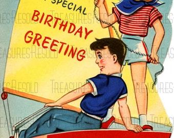 Retro Boy & Girl Sailor Sailboat Birthday Card #418 Digital Download