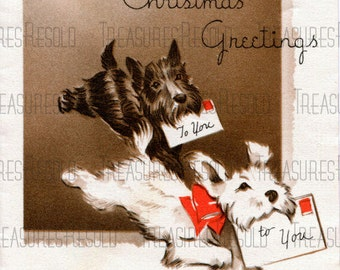Retro Scottie Terrier Dogs Christmas Greetings To You Christmas Card #424 Digital Download