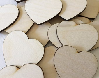 50 2.5 inch wood hearts - unfinished wooden hearts for wedding and parties