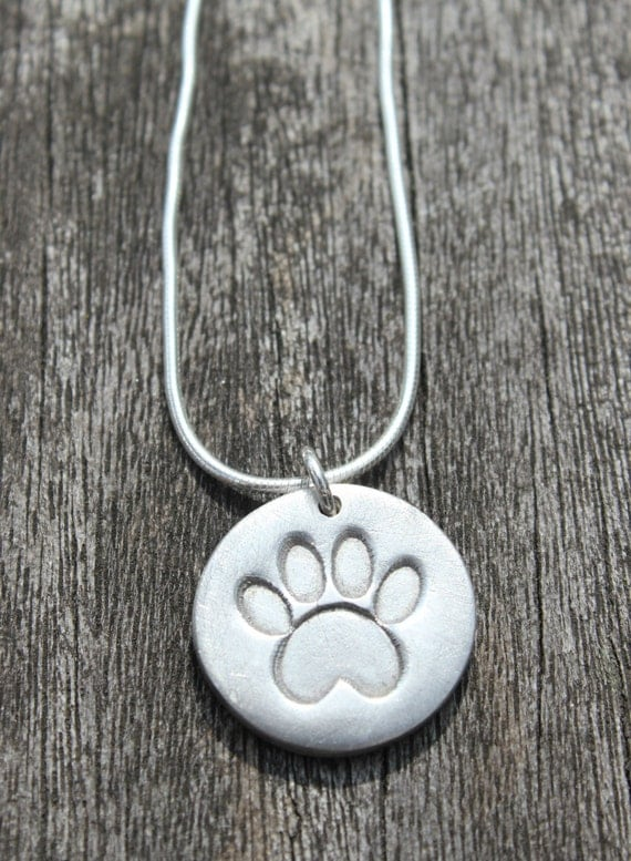 Silver Paw Cavachons: Silver Pawprint Necklace Silver Paw Print By