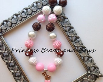 Pink Chocolate Easter Bunny Chunky Necklace,  Easter Bubble Gum Bead Necklace,  Girls Necklace, Spring Chunky Necklace
