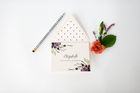 personalized will you be my bridesmaid cards + lined envelopes  // lola louie paperie