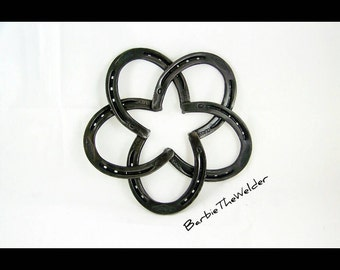 Horseshoe Star Wreath Country Western Themed Line of Home Decor by BarbieTheWelder Wall Hanging Rustic Welded Art