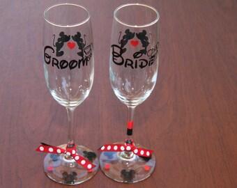 Disney Mickey, Minnie Bride/Groom Champagne Glass Set, Disney Wedding, Disney Bridal, Disney Gifts