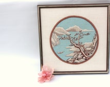 Vintage Embroidery Artwork - Landscape Painting - Embroidery Artwork - Needlepoint