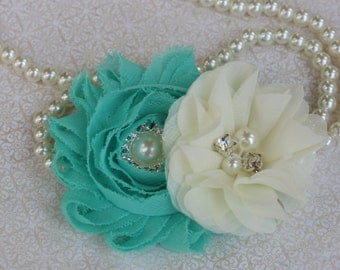 Ivory and mint hair clips, mint and ivory hair bow, kids hair accessory, mint green flower girl hair clips, mint green hair bows ivory