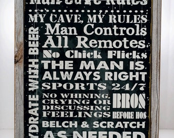 Framed Man Cave Rules Metal Sign, Den Decor, Rules to Live By, Humor, Bar Décor  HB7065F