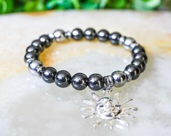 Hematite Bracelet,Jewelry for Men,Beaded Bracelets Men,Mens Bracelet,Gift for Him,Man Beaded Bracelet,Sun Charm,Silver Jewelry,Gem Bracelet