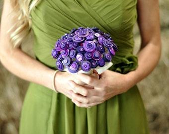 Purple Button Bouquet / wedding bouquet / alternative bouquet / button bridesmaid bouquet