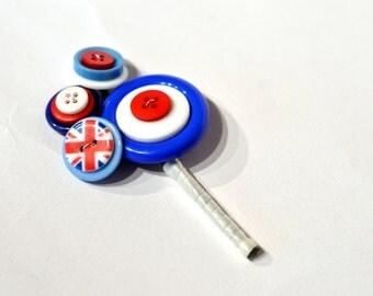 Mod Buttonhole / mod corsage / button buttonhole / alternative wedding flowers / everlasting buttonhole