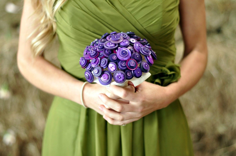 Button Bridal Bouquet Etsy : Purple button bouquet wedding alternative