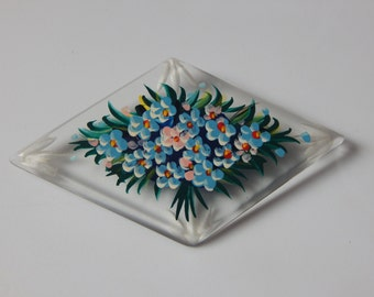 Vintage Flower Brooch Plastic Painted Floral Brooch Blue Pink Flowers Green Leaves