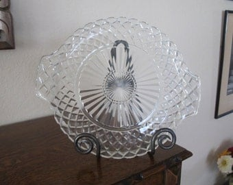 Vintage-Beautiful pressed  clear glass cakeplate-free shipping USA