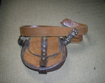 leather belt and pouch- vintage