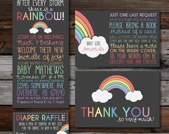 Printable Baby Shower Invitations, Pregnant After A Loss, Rainbow Baby, Chalkboard Style, Diaper Raffle, Thank You, Bring a Book Card
