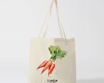 X135Y Tote bag carrot vegetable bag market bag tote bag, purse, diaper bag, cotton bag, canvas bag, bag races, classes