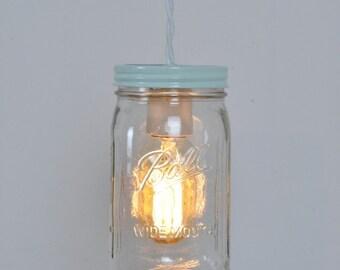 Farmhouse Mason Jar Pendant Light Ocean Mist Vintage