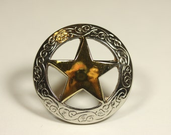 Engraved Star Knob - Two Tone