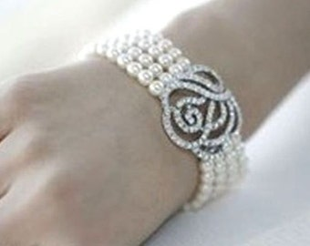 Bridal Silver Plated Rhinestone Crystal Rose Off White Pearl Bracelet