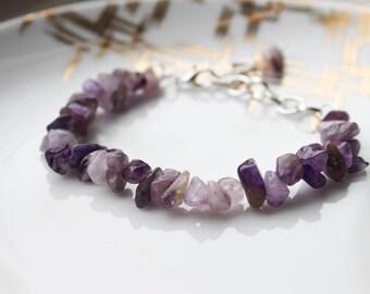 Amethyst Stone Bracelet, Purple Amethyst Bracelet, Purple Stone Bracelet, Stone Bracelets