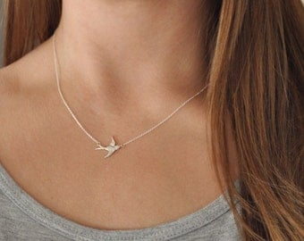 Sterling Silver Swallow Necklace - Bird - Dove - Centered - Delicate
