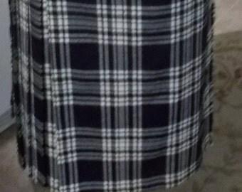 SALE Vintage 60's Wool B&W Pleated Skirt