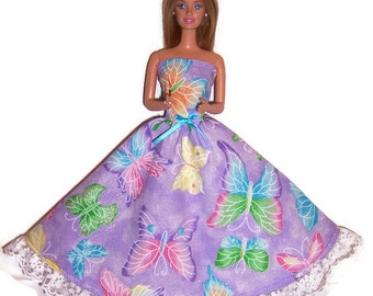 Fashion Doll Clothes-Glittery Lavender Butterfly Print Strapless Dress