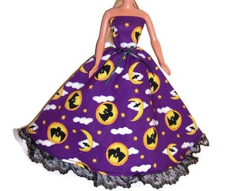 Fashion Doll Clothes-Black/Purple Owl Print Strapless Dress